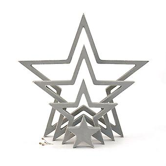 East of India Hanging Wooden Outline Star Grey Set of 4 Home Decoration