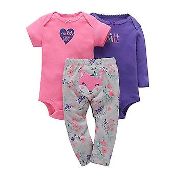 3Pcs Baby Outfit,Bodysuit, Top And Pants -Fox