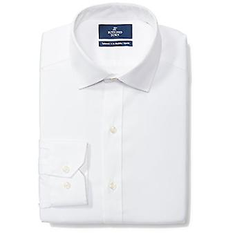"""KNÄPPT NER Män & apos, skräddarsydd fit spread-collar solid icke-järn klänning skjorta (ingen ficka), vit, 17,5"""" Hals 37& Ärm"""