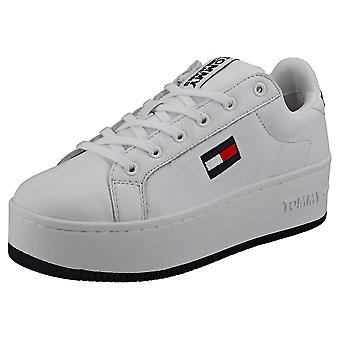 Tommy Jeans Iconic Flatform Sneaker Womens Platform Trainers em Branco