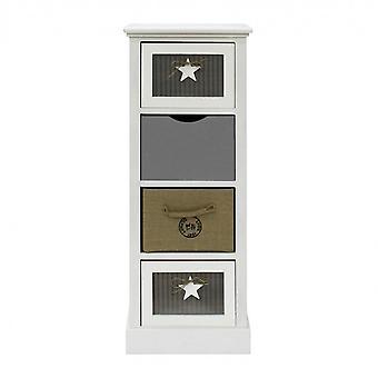 Rebecca Furniture Drawer 4 White Fabric Wood Drawers Beige Grey 89x34x29