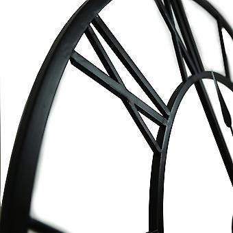Charles Bentley indendørs væg runde minimalistisk skelet ur med romertal Mat Sort Lille 60cm