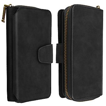 Case for Galaxy A40 2 in 1 made with Leather, Detachable Shell - Black