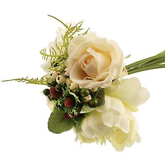 White Artificial Fabric Peony & Rose Short Stem Petite Bouquet