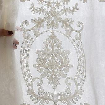 High-grade Home Decor White Embroidery Flower Screens European Style Voile