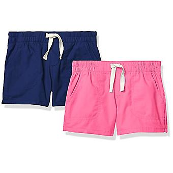 Marke - Spotted Zebra Girls' 2-Pack Pull-On Play Shorts, Navy/Pink 3t