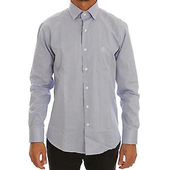 Cavalli Blue Cotton Slim Fit Dress Shirt TSH1479-3
