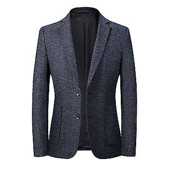 YANGFAN Men's Casual Plaid Suit Jacket Two Buckle Blazer