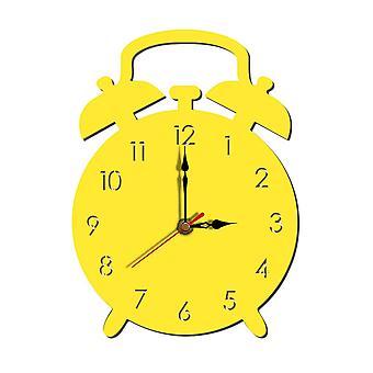 Creative Cute Alarm Clock Shape Wall Clock Home Decor Yellow