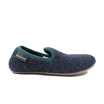 Haflinger Charly blue Wool Mens Slip On Full Shoe Hausschuhe