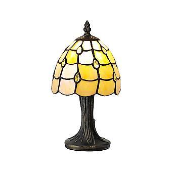 Lampada da tavolo Tiffany, 1 x E14, Nero, Oro, Beige, Chiara Tonalità di Cristallo