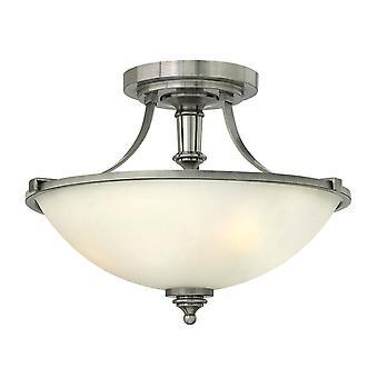 elstead truman - 3 lys semi flush taklampe antikk nikkel, E27