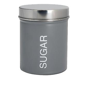 Contemporary Sugar Canister - Steel Kitchen Storage Caddy with Rubber Seal - Grey