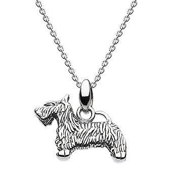ندى الاسترليني الفضة 3D Oxidised سكوتي الكلب قلادة 9660OX021