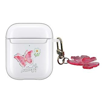 Cover for AirPods Version 1 and 2 in Silicone Butterfly Pattern with Carabiner