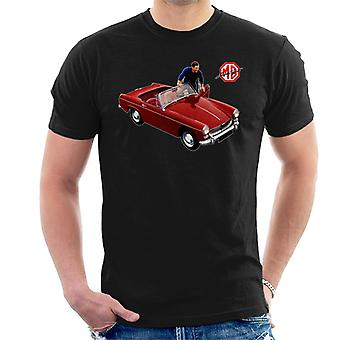 MG Red Getting In Car British Motor Heritage Men's T-Shirt