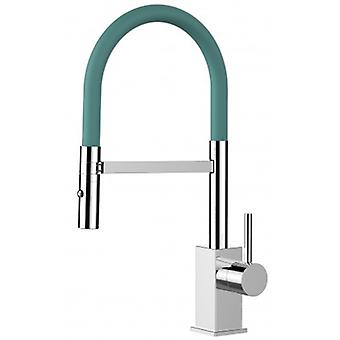 Kitchen Single-lever Sink Mixer With Turquoise Movable Spout And 2 Jets Shower - Low Version 43,7 Cm - 567