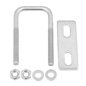 Silver 304 Stainless Steel U Bolt with Plate Nut M6x30x70 Square Shape