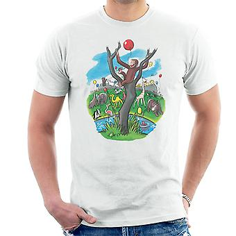 Curious George In A Tree At The Zoo Men's T-Shirt