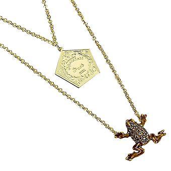 Harry Potter kullattu sterling hopea suklaa sammakko kaulakoru Swarovski kristalleja