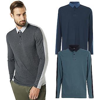 Oakley Herre langærmet åndbar stribet Golf Polo skjorte