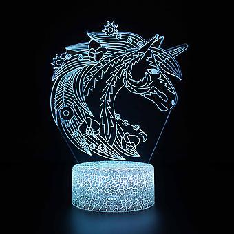 Kind cadeau 3D Touch Light Night 7 kleuren afstandsbediening - Unicorn #75