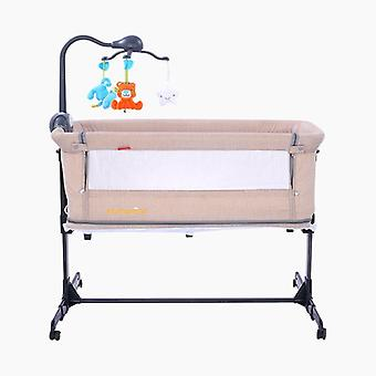 European Style Baby Bed Multifunctional Newborn Solid Wood Bedside Crib,