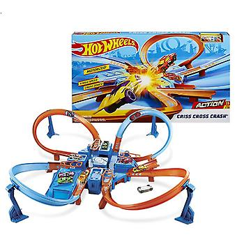 Criss  Cross Crash Car Track Playset, Mini Diecast Racing Car 4 Corner More