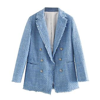 Femme Office Wear Double Breasted Tweed Blazer Coat, Vintage Long Sleeve,
