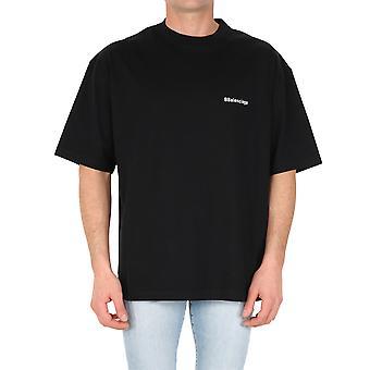 Balenciaga 612966tjv871070 Mænd's Sort Bomuld T-shirt
