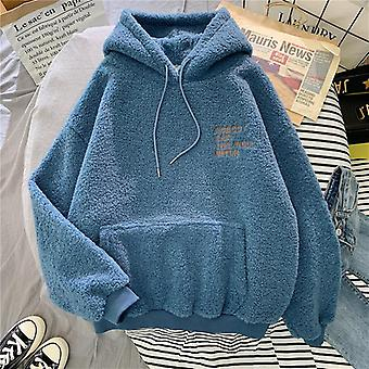 Autumn, Winter Coat, Hooded Loose Pocket, Hoodies Fleece Flannel Pullover,
