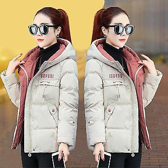 New Parkas Hooded Thick Down Cotton Padded Female Short Coat