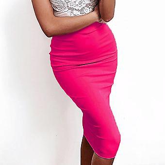 Κυρία Casual Δύο στρώματα βαμβάκι bodycon φούστα, υψηλή μέση streetwear, ρούχα