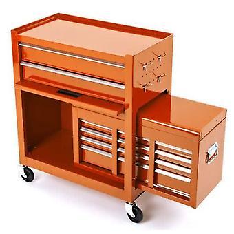 BikeTek Steel Rolling Tool Cabinet Orange 8-Drawer Top Chest Box Garage Storage