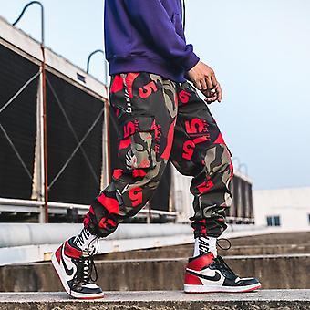 Printed Men Harem Pants, Hip Hop Casual Streetwear Joggers, Fashion Elastic