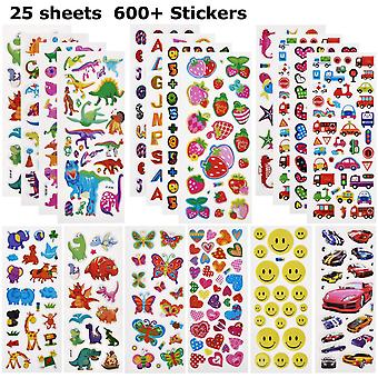 Willingood 3d puffy stickers for children [25 different sheet,600+], include dinosaur stickers, cars