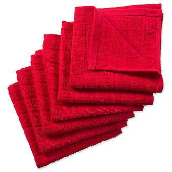 Dii Solid Red Windowpane Terry Dishcloth (Ensemble de 6)