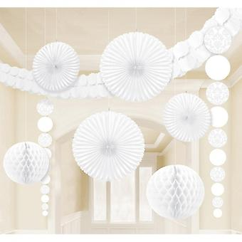 Decoratieset Damast White 9-Delig Wit