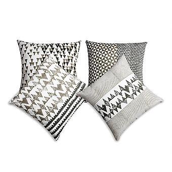 Oreiller en coton imprimé 18 x 18 blocs avec détails géométriques, ensemble de 4, multicolore