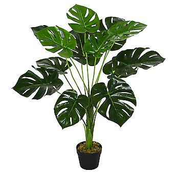 Outsunny 85cm/2.8FT Artificial Monstera Tree Decorative Cheese Plant 13 Leaves with Nursery Pot, Fake Tropical Palm Tree for Indoor Outdoor Décor