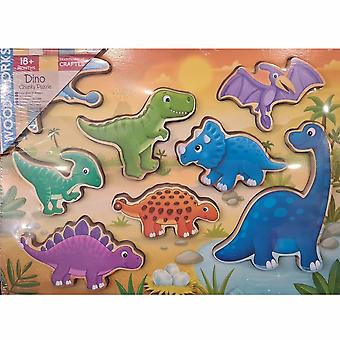 HTI  Wooden Chunky Puzzle.  Dinosaurs