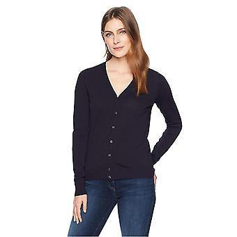 Lark & Ro Women's Buttoned Down V-Neck Cardigan Sweater, Atlantic Navy, X-Large