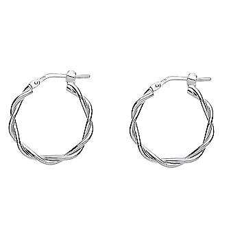 Jewelco London Ladies Rhodium Plaqué Argent Sterling # Candy Twist Hoop Boucles d'oreilles 20mm 2mm