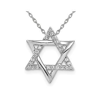 14K White Gold Star Of David Pendant Necklace with Diamonds 1/8 Carat (ctw) with Chain