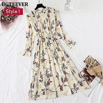 Spring Stand Collar Floral Print Women Dress, Lace Up, Female Pleated, Summer