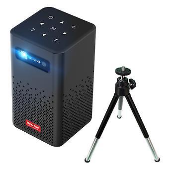BYINTEK P20 LED Mini projektori 5200mAh akku ja jalusta - Beamer Home Media Player Musta