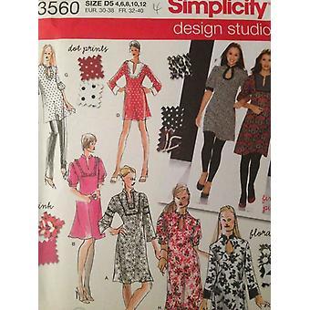 דפוס תפירה פשטות 3560 מתגעגע נשים עיצוב שמלה טוניקה גודל 4-12 נימול