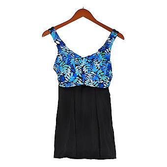 Fit 4 U Swimsuit Wrap Swim Dress V-Neck Blue A376261