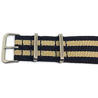 N.a.t.o zulu g10 stil se stropp nylon 2 stripe svart og beige størrelse 18mm til 22mm rustfritt spenne