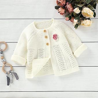 Syksy Vauva Valkoinen Ihana Kukka Yksirintainen Villapaita